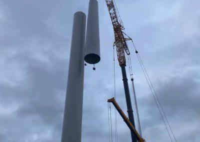 Turmbau der Windenergieanlage durch iterra energy Münster