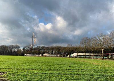 Anlieferung der Rotorblätter für den Windpark Münster